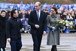 The Duke and Duchess of Cambridge accompanied by Aiyawatt Srivaddhanaprabha (left), A family member of Leicester City Chairman Vichai Srivaddhanaprabha during their visit to The King Power Stadium to pay tribute to those who lost their lives in the Leicester City helicopter crash
