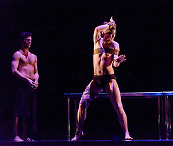 Edinburgh, Scotland, UK 18th August 2016 ::  The cast of Scottish Ballet perform Angelin Preljocaj's MC 14/22 (Ceci est mon corps) a hymn to the male body, a meeting of the spiritual and the carnal, a glorification of masculinity and a condemnation of force. Performed by 12 male dancers representing the Apostles of Jesus, this powerfully sensual work takes as its starting point the Last Supper as related in the Gospel of St Mark, chapter 14, verse 22 as Christ breaks bread and announces to his disciples: 'Take it; this is my body.'  Pictured: Andrew Peasgood by Eado Turgeman (L)<br /> <br /> (c) Andrew Wilson   Edinburgh Elite media