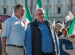October 14, 2017 - Rome, Italy, Italy - Demonstration ''against the Invasion of Immigrants'' organized by the National Movement for Sovereignty Opening the procession the chairman of the Movement Francesco Storace and the secretary Gianni Alemanno. In the picture  the president of the Movement Francesco Storace (Credit Image: © Patrizia Cortellessa/Pacific Press via ZUMA Wire)