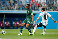Argentina forwarder Lionel Messi (R) and Nigeria midfielder John Obi Mikel (L) during the 2018 FIFA World Cup Russia, Group D football match between Nigeria and Argentina on June 26, 2018 at Saint Petersburg Stadium in Saint Petersburg, Russia - Photo Stanley Gontha / Pro Shots / ProSportsImages / DPPI