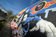 A mural is painted on the outside of a commercial building in the Mills 50 district of Orlando, Fla., Friday, Oct. 14, 2016. (Phelan M. Ebenhack via AP)