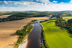 Aerial view from drone of  River Dee on Deeside at Aboyne in  Aberdeenshire, Scotland, UK