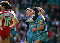 Photo: Richard Lane/Richard Lane Photography. Gloucester Rugby v Cardiff Blues. Anglo Welsh EDF Energy Cup Final. 18/04/2009. Blues' Ceri Sweeney, Tom James celebrate a try.