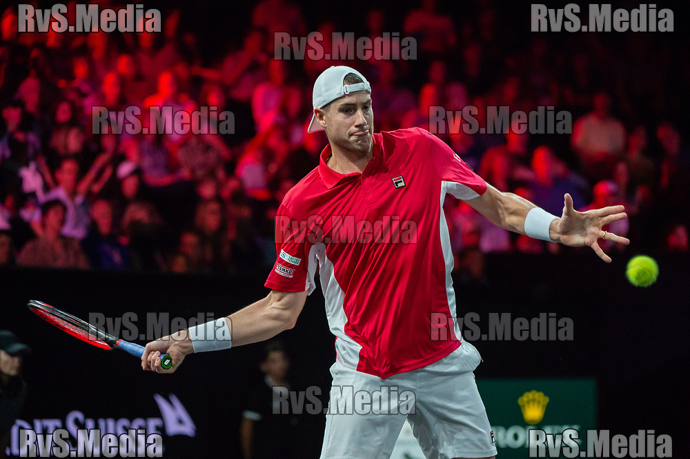 GENEVA, SWITZERLAND - SEPTEMBER 22: John Isner of Team World plays a forehand during Day 3 of the Laver Cup 2019 at Palexpo on September 20, 2019 in Geneva, Switzerland. The Laver Cup will see six players from the rest of the World competing against their counterparts from Europe. Team World is captained by John McEnroe and Team Europe is captained by Bjorn Borg. The tournament runs from September 20-22. (Photo by Robert Hradil/RvS.Media)