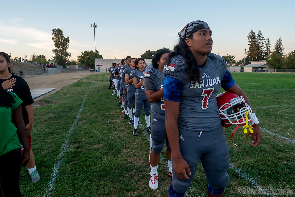 as the San Juan Spartans host the Mira Loma Matadors, Friday Sep 16, 2016.<br /> photo by Brian Baer