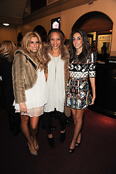 Left to right, STACEY SOLOMAN, Angela Griffin and JEMMA SOLOMAN at the gala opening night of Cirque du Soleil's Varekai at the Royal Albert Hall, London on 5th January 2010.