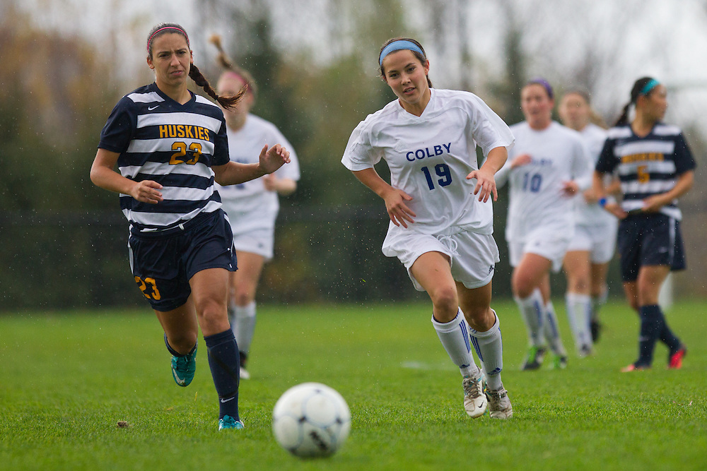 Crysti Tsujiura, of Colby College, in a NCAA Division III soccer game on October 22, 2013 in Waterville, ME. (Dustin Satloff/Colby College Athletics)