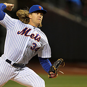 NEW YORK, NEW YORK - APRIL 12: Pitcher Noah Syndergaard, New York Mets, pitching during the Miami Marlins Vs New York Mets MLB regular season ball game at Citi Field on April 12, 2016 in New York City. (Photo by Tim Clayton/Corbis via Getty Images)