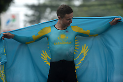 SUBANG, Aug. 24, 2018  Gold medalist Alexey Lutsenko of Kazakhstan reacts during the awarding ceremony of the men's 40km individual time trial of cycling road event at the 18th Asian Games in Subang, West Java, Indonesia, Aug. 24, 2018. (Credit Image: © Agung Kuncahya B/Xinhua via ZUMA Wire)