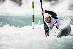 Niko Testen of Slovenia competes in Kayak (K1) Men during International Slalom Kayak-Canoe competition, on May 6, 2018 in Tacen, Ljubljana, Slovenia. Photo by Vid Ponikvar / Sportida