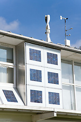 Vertical axis wind turbine and Photovoltaic (PV) solar panels that provide power to the Marmont Centre for Renewable Energy at Nottingham University,