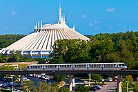 Monorail with Space Mountain in background, Magic Kingdom, Walt Disney World, Orlando, Florida USA