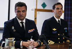 Rear Admiral Jose Enrique Delgado (left) speaks during a press conference aboard HMS Duncan, as four Nato warships have docked in Belfast after monitoring a Russian aircraft carrier through the North Sea and on to the Mediterranean.