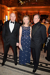 Left to right, PEREGRINE & CAROLINE ARMSTRONG-JONES and VISCOUNT LINLEY at the inaugural dinner for The Queen Elizabeth Scholarship Trust hosted by Viscount Linley at the V&A museum, London on 25th February 2016.