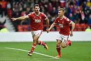 Nottingham Forest defender Eric Lichaj (2) celebrates scoring a goal, making the score 2-0, during the EFL Sky Bet Championship match between Nottingham Forest and Burton Albion at the City Ground, Nottingham, England on 21 October 2017. Photo by Richard Holmes.