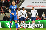 England Forward Jamie Vardy (9) celebrates scoring a goal (1-0) during the Friendly match between England and Italy at Wembley Stadium, London, England on 27 March 2018. Picture by Stephen Wright.