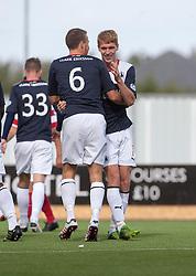 Falkirk's Jay Fulton celebrates after scoring their goal.<br /> Falkirk 1 v 2 Hamilton, Scottish Championship 31/8/2013.<br /> ©Michael Schofield.