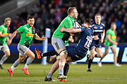 Harlequins No.8 Alex Dombrandt runs through Sale Sharks full back Luke James during a Gallagher Premiership match at the AJ Bell Stadium, Eccles, Greater Manchester, United Kingdom, Friday, April 5, 2019. (Steve Flynn/Image of Sport)