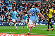Goal - Raheem Sterling (7) of Manchester City celebrates scores a goal to give a 5-0 lead during the The FA Cup Final match between Manchester City and Watford at Wembley Stadium, London, England on 18 May 2019.