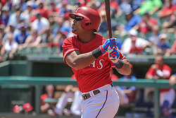 May 9, 2018 - Arlington, TX, U.S. - ARLINGTON, TX - MAY 09: Texas Rangers designated hitter Adrian Beltre (29) watches the flight of his ball during the game between the Detroit Tigers and the Texas Rangers on May 9, 2018 at Globe Life Park in Arlington, TX. (Photo by George Walker/Icon Sportswire) (Credit Image: © George Walker/Icon SMI via ZUMA Press)