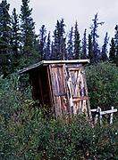 Outhouse on the shore of Kathleen Lake, Kluane National Park, Yukon Territory, Canada