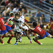 JP Eloff (10) of the United States scrambles past Benjamin Soto (8)during the 2016 Americas Rugby Championship match at Lockhart Stadium on Saturday, February 20, 2016 in Fort Lauderdale, Florida.  (Alex Menendez via AP)