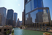 The Chicago River in downtown Chicago, Illinois, USA