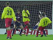 Watford, England. <br /> Vicarage Road.<br /> Football - Worthington Cup 9/10/01<br /> Watford v Bradford:<br /> Stephen Glass's shot on goal - passes the post.   [Mandatory Credit:Peter SPURRIER/Intersport Images]
