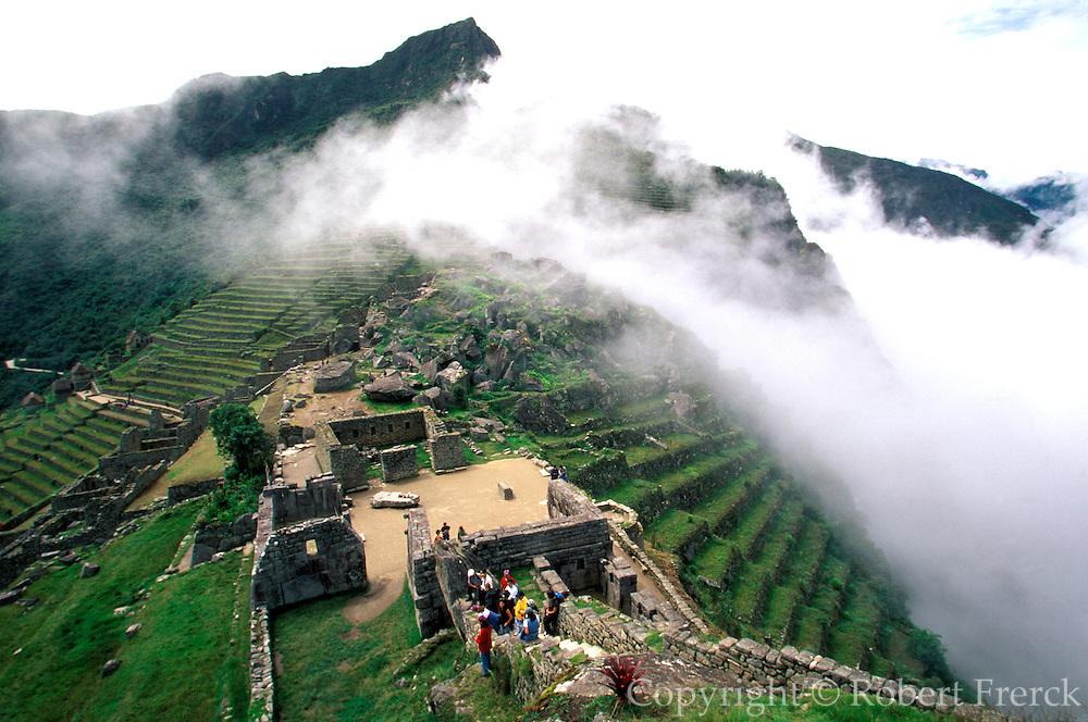 PERU, PREHISPANIC, INCA Machu Picchu; Sacred Plaza temples