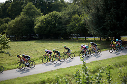 Peloton speed by with 5km to go at Grand Prix de Plouay Lorient Agglomération a 121.5 km road race in Plouay, France on August 26, 2017. (Photo by Sean Robinson/Velofocus)