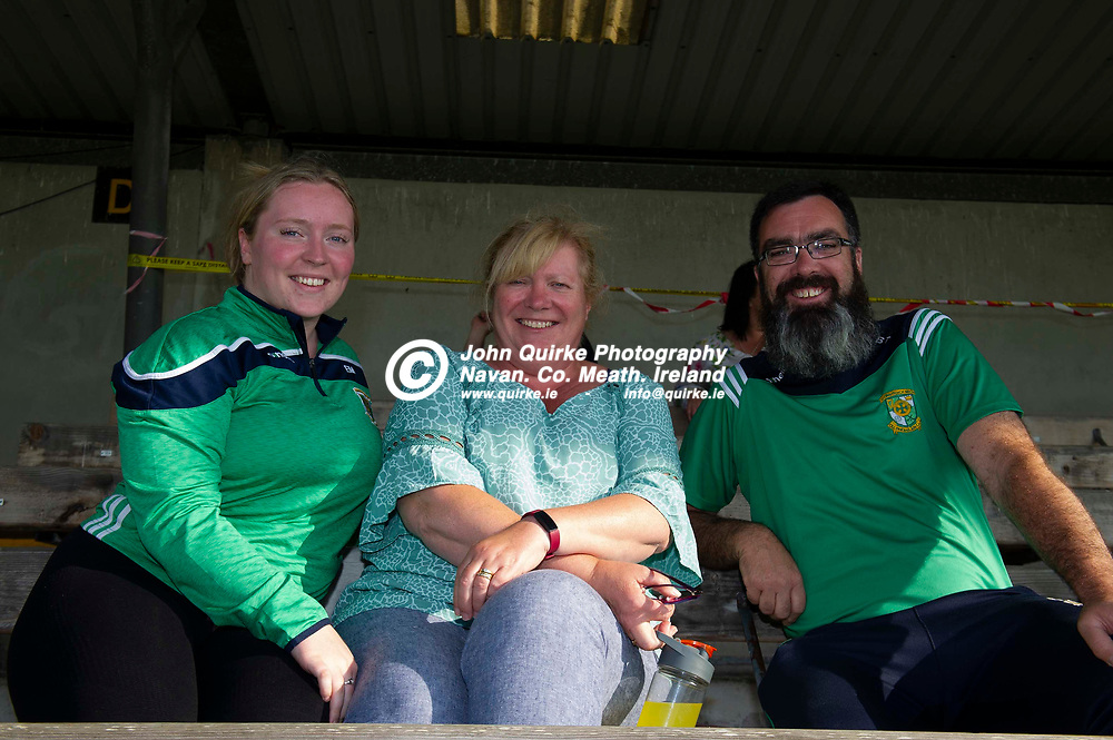 01-07-21. Meath v Westmeath - Leinster MHC at TEG Cusack Park, Mullingar.<br /> In Cusack Park supporting the Meath minor hurlers from left,  Emma Mather, Aileen Mather and Brian Thomas all from Ashbourne.<br /> Photo: John Quirke / www.quirke.ie<br /> ©John Quirke Photography, 16 Proudstown Road, Navan. Co. Meath. (info@quirke.ie / 046-9028461 / 087-2579454).
