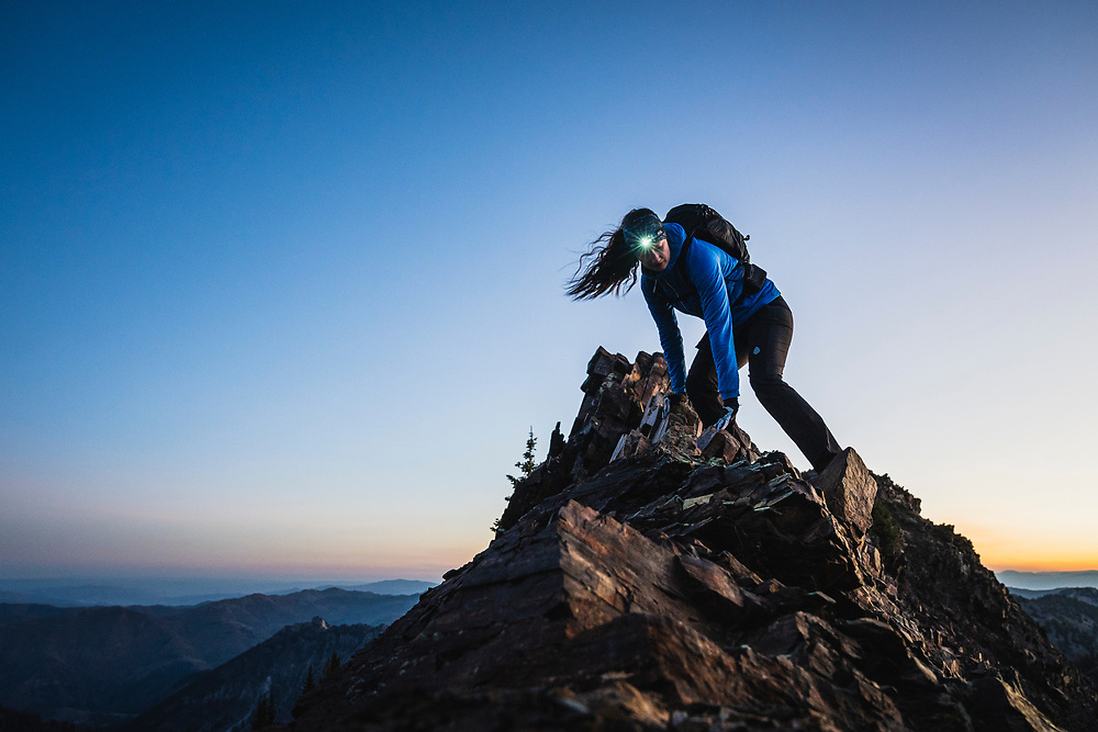 Rob Aseltine and Hannah Barkey out for a sunrise hike on Mount Superior, Utah.