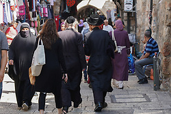 Passers-by in the Old City of Jerusalem. From a series of travel photos taken in Jerusalem and nearby areas. Photo date: Tuesday, July 31, 2018. Photo credit should read: Richard Gray/EMPICS