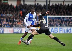 Bernard Mensah of Bristol Rovers is challenged by Greg Leigh of Bury - Mandatory by-line: Neil Brookman/JMP - 30/03/2018 - FOOTBALL - Memorial Stadium - Bristol, England - Bristol Rovers v Bury - Sky Bet League One
