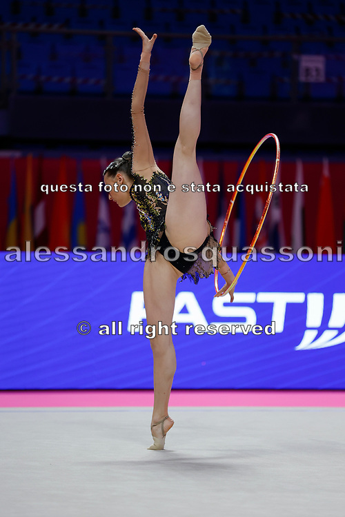 Nicol Ruprecht  from Austria competes during the Rhythmic Gymnastics Individual qulification of the World Cup at Vitrifrigo Arena  on May 28-29, 2021,in Pesaro, Italy. She  was born in Innsbruck October 21,1992.