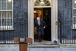 © Licensed to London News Pictures. 13/12/2019. London, UK. British Prime Minister and leader of the Conservative Party, BORIS JOHNSON, comes out of No 10 Downing Street to deliver a statement. Photo credit: Dinendra Haria/LNP