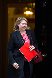 © Licensed to London News Pictures. 27/03/2018. London, UK. Secretary of State for Northern Ireland Karen Bradley leaving Downing Street after attending a Cabinet meeting this morning. Photo credit : Tom Nicholson/LNP