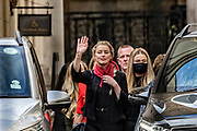 "Actress Amber Heard, centre, leaves the High Court in London, Monday, July 13, 2020. Depp is expected to have wrapped up his evidence at his libel trial against a tabloid newspaper that accused him of abusing ex-wife Amber Heard. The Hollywood star is suing News Group Newspapers, publisher of The Sun, and the paper's executive editor, Dan Wootton, over an April 2018 article that called him a ""wife-beater."" (VXP Photo/ Vudi Xhymshiti)"