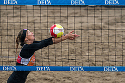 Madelein Meppelink in action. The DELA NK Beach volleyball for men and women will be played in The Hague Beach Stadium on the beach of Scheveningen on 22 July 2020 in Zaandam.