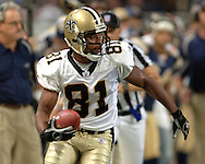 Saints wide receiver Az-Zahir Hakim during game action against St. Louis at the Edward Jones Dome in St. Louis, Missouri, October 23, 2005.  The Rams beat the Saints 28-17.
