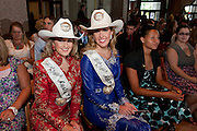 Stephanie Revels (L) Miss Rodeo Austin Princess and Katie Crews, Miss Rodeo Austin, sit with the other 2011 Rodeo Austin scholarship recipients, at the annual ceremony at the Bob Bullock Texas State History Museum.   Photo by Mark Matson  ( 8/11/11)