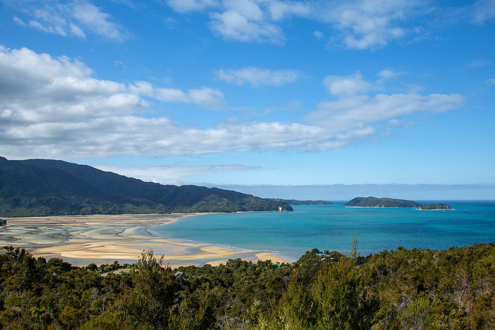Expansive veiws across Marahau estuary Abel Tasman National Park,