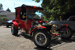 """01 August 2015:  Ford """"Munster"""" hotrod<br /> <br /> Displayed at the McLean County Antique Automobile Association Car show at David Davis Mansion in Bloomington Illinois"""