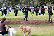 MELBOURNE, VIC - SEPTEMBER 19: Police are seen moving towards protestors to clear Elsternwick Park during the Freedom protest on September 19, 2020 in Melbourne, Australia. Freedom protests are being held in Melbourne every Saturday and Sunday in response to the governments COVID-19 restrictions and continuing removal of liberties despite new cases being on the decline. Victoria recorded a further 21 new cases overnight along with 7 deaths. (Photo by Mikko Robles/Speed Media)