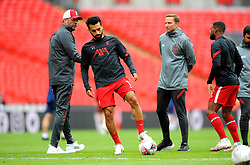 Mohamed Salah of Liverpool warms up prior to kick-off - Mandatory by-line: Nizaam Jones/JMP - 29/08/2020 - FOOTBALL - Wembley Stadium - London, England - Arsenal v Liverpool - FA Community Shield