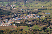 Elevated  view to lowland below to village of Portages in the centre of this scene. Photo taken from Marvao, Portalegre district, Alto Alentejo, Portugal, Southern Europe