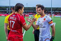 ANTWERP - BELFIUS EUROHOCKEY Championship  . Belgium v Spain (men) (5-0).Thomas Briels (Bel) with Miguel Delas (Esp)  and umpires Jakub Mejzlik (CZE) and Jonas van 't Hek (NED) WSP/ KOEN SUYK