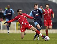 Photo: Matt Bright/Sportsbeat Images.<br /> Swindon Town v Swansea City. Coca Cola League 1. 01/01/2008.<br /> Sofiane Zaaboub of Swindon tackles Paul Anderson of Swansea
