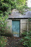 No entrance sign at garden shed at Mount Usher Gardens in Ashford County Wicklow Ireland