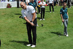 © Licensed to London News Pictures. 01/07/2017. London, UK, Former England rugby International Mike Tindell during The 2017 Celebrity Cup golf tournament at the Celtic Manor Resort, Newport, South Wales. Photo credit: Jeff Thomas/LNP